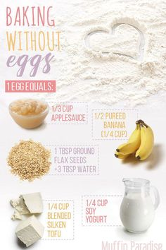 These Ingredients Can Used To Substitute Eggs In Any Baking Recipe is part of Egg free baking - Whether you have an egg allergy in your family, or simply like to eat vegan… Baking Tips, Baking Recipes, Baking Hacks, Baking Substitutions, Baking Recipe No Eggs, Healthy Baking Substitutes, Baking Secrets, Eggless Baking, Bread Baking