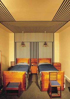 1910s: Charles Rennie Mackintosh made a bold statement with stripes in the guest bedroom of 78 Derngate, making a strong focal point in a small bedroom and also give the illusion of a four poster bed. Circa 1919.