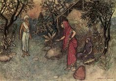 'How is it that you have returned so soon'- ''Indian Myth and Legend'' by Donald. A. Mackenzie. Published by The Gresham Publishing co.(London).1913, Illustrations by Warwick Goble
