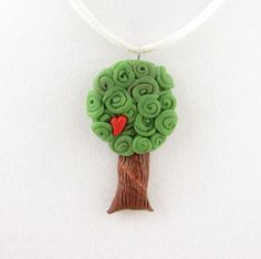 tree of love polymer clay necklace