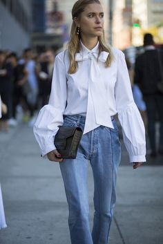 The beautiful Look de Pernille in our #Vetements Cut-n-Sew jeans.