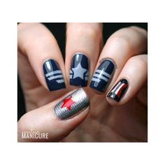 Captain America The Winter Soldier Nail Art ❤ liked on Polyvore featuring beauty products, nail care and nail treatments