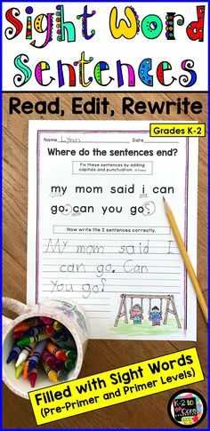 Provide your beginning/emergent readers and writers in kindergarten, first, or second grade with capitalization and punctuation practice, as well as lots of work with sight words. All Pre-Primer and Primer sight words are used, most three times or more. Sight Word Sentences, Sight Words, Sight Word Activities, Writing Activities, Punctuation Activities, Word Games, Writing Ideas, Teaching Writing, Writing Practice