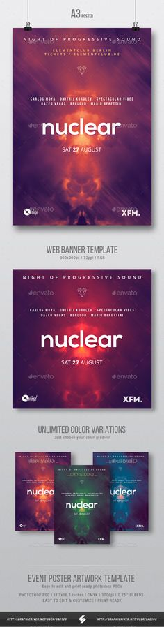 Nuclear  Minimal Party Flyer / Poster Template A3 — Photoshop PSD #event #poster • Download ➝ https://graphicriver.net/item/nuclear-minimal-party-flyer-poster-template-a3/20097510?ref=pxcr