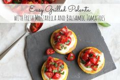 Easy Grilled Polenta with Fresh Mozzarella and Balsamic Tomatoes | Two Healthy Kitchens - You won't believe how delicious this super-easy appetizer is! Packaged polenta makes it quick, creamy mozzarella with tomatoes and basil make it irresistible!