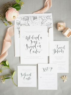 See lauren conrad and william tells wedding album pinterest a gorgeous modern calligraphy type creates a whimsical yet modern look on our flowing calligraphy wedding invitations complete with a pretty mrs box and stopboris Gallery