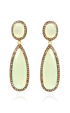 M'O Exclusive: One-Of-A-Kind J Hadley Jewelry Chalcedony And Diamond Earrings by J. Hadley Jewelry for Preorder on Moda Operandi