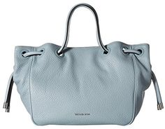 """MICHAEL Michael Kors Dalia Large Shoulder Tote Dusty Blue Tote Handbags. Dusty blue pebble leather. Open top; snap closure. Knotted detail on sides. Logo lettering at bottom center. Inside, logo-jacquard lining; one zip and three slip pockets; key clip. Large sized bag; 11""""H x 18.5""""W x 7""""D; Rolled tote handles cinches top, 9"""" drop."""