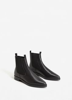 Leather chelsea ankle boots - Woman | MANGO United Kingdom