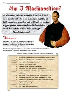 """This great resource for your Renaissance unit or when you cover Machiavelli's The Prince has students ask themselves, """"Am I Machiavellian?"""" and take a quiz to determine just how much they agree with Machiavelli's take on how to seize and hold onto power! Very fun and engaging for students!"""
