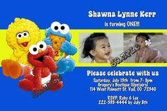 Sesame Street Babies Birthday Party Invitations - ALL COLORS - ALL CHARACTERS - Get these invitations RIGHT NOW. Design yourself online, download and print IMMEDIATELY! Or choose my printing services. No software download is required. Free to try!