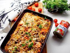 Jauheliha ja spagetti on sopiva parivaljakko. Nyt en tehnyt pastaa,   vaan laatikkoruokaa tarkemmin spagettivuokaa. Tästä tuli mehukkaan... Spagetti, Finnish Recipes, Tuli, No Salt Recipes, Fodmap Recipes, I Love Food, Pasta Dishes, Dinner Recipes, Food And Drink