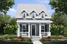 MonsterHousePlans - 50-349 Colonial Cottage, Cottage Style House Plans, Beach Cottage Style, Cottage House Plans, Small House Plans, Cottage Homes, Beach Cottage Exterior, Cottage Rugs, Brick Cottage