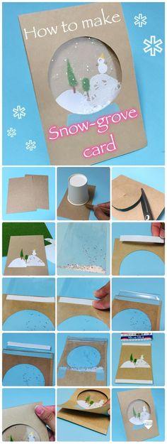 スノードームカードの作り方!カードにキラキラの雪を降らせよう! | 季節の工作アイデア集- こうさくポケット Happy Christmas Day, Christmas Card Crafts, Christmas Cards To Make, Kids Christmas, Handmade Christmas, Holiday Crafts, Diy And Crafts, Paper Crafts, Karten Diy