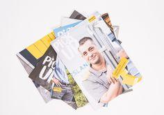 in flagranti design: Titelseiten PickUp – Magazin für Mitarbeitende von PostLogistics Grafik Design, Editorial Design, Poster, Polaroid Film, Books, Posters, Editorial Layout