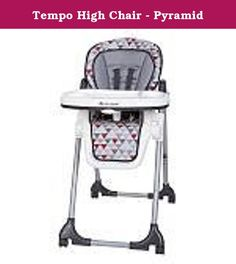 Tempo High Chair - Pyramid. With six different height positions, three recline positions and three positions for the child tray, the Baby Trend Tempo High Chair in Pyramid fashion easily adjusts to your child for a custom fit. The tray can be easily removed with one hand to get your little one in and out of the high chair in a breeze. The five-point safety harness and caster wheels with brakes will help to keep your bundle of joy safe while eating. The seat pad can be easily cleaned with...