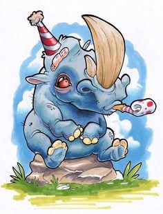 Party Rhino by XeviousTheGreat on DeviantArt Tatuajes New School, Desenho New School, Tattoo Gato, Rhino Tattoo, Graffiti Drawing, Graffiti Art, Art Drawings, Illustrations, Illustration Art