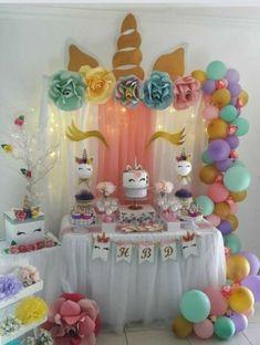 Best Ideas For Cupcakes Unicornio Pastel De Unicorn Themed Birthday Party, 10th Birthday Parties, Birthday Party Decorations, Girl Birthday, Cake Birthday, Birthday Ideas, 1 Year Old Birthday Party, School Birthday, Baby Shower Cupcake Cake