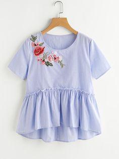 237db24995c09 New flower embroidery blouse shirt Women tops blouse chemise femme camisa  ruffled blue short sleeve summer 2017 blusas