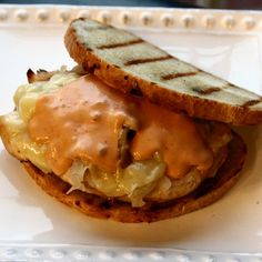 This Grilled Chicken Reuben Sandwich is a great variation on the classic Reuben. I actually think it is better than the original, and I love the original. Reuben Sandwich, Sandwiches For Lunch, Grilled Chicken, Sliders, Grilling, Tacos, Burgers, Desserts, Recipes