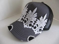 Trucker Hat Bling Hat Hats Womens Cap Hat by GoldenDreamFinds