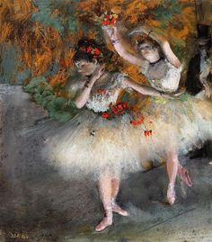 Two Dancers Entering the Stage, 1878 by Edgar Degas. Impressionism. genre painting. Fogg Art Museum, Cambridge, Massachusetts, USA