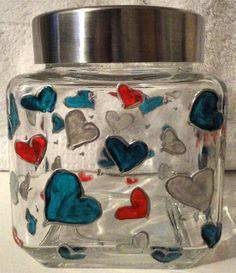 Designer Hand Painted Midi Hearts Pattern Storage Jar by HandPaintedJar on Etsy