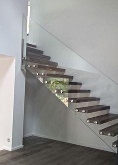 Escalier droit / marche en bois / suspendu / sans contremarche SKYSTEP VERRE CLAIR ET CHENE Trescalini - Escaliers, structures et garde-corps