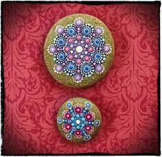 Elspeth McLean - Jewel Drop Mandala Painted Stone- Berry Bliss. $54.00, via Etsy.