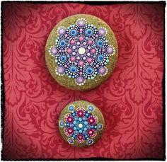 Elspeth McLean - Jewel Drop Mandala Painted Stone- Berry Bliss. $54.00, via Etsy.