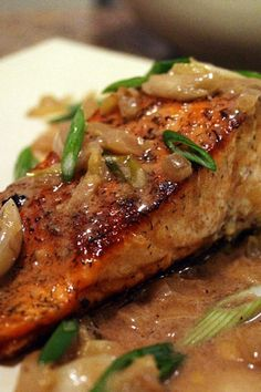 Spicy Salmon with Caramelized Onions | KitchMe I did not make the carmelized onions and I added cayenne pepper to the mixture. So amazing!!!! My favorite salmon recipe.