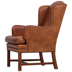 Mid century wingback easy chair probably produced in Sweden at 1stdibs