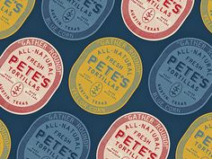 Pete's Tortillas designed by Zachary Wieland. Connect with them on Dribbble; Food Packaging Design, Brand Packaging, Graphic Design Branding, Logo Design, Typography Logo, Logos, Visual Identity, Design Inspiration, Personalized Items