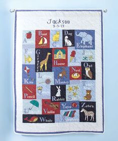 NEW! Give this Personalized Alphabet Baby Quilt as a thoughtful gift. It features baby's name and birthday embroidered on the top and the full alphabet below in a cute quilted design with playful imagery to match each word. Makes a nice addition to b