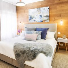 Get the look including the dreamy artwork 'Clouds' from @lisaandjohn's gorgeous pastel & grey bedroom at The Block Shop. Head to http://ift.tt/1v9jaEU and search 'See the Rooms' for details #theblockshop #9renorumble #bedroom #bedroominspo