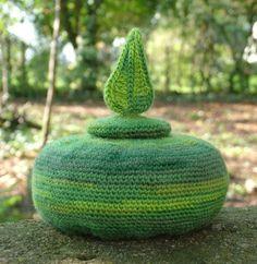 Freestanding Sculptured Crochet Pot with Leaf Lid, designed and handmade by Elvira Jane.