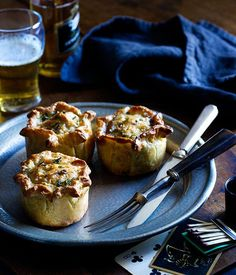 Australian Gourmet Traveller recipe for beef, Stilton and suet pies by April Bloomfield from New York City restaurant The Breslin. Blue Cheese Recipes, Tacos, Beer Recipes, Brunch Recipes, Recipe Search, Pastry Recipes, Good Food, Food And Drink, April Bloomfield