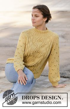 Ravelry: Golden Moments pattern by DROPS design Drops Design, Sweater Knitting Patterns, Free Knitting, Cable Sweater, Work Tops, Cotton Viscose, Knit Crochet, Sweaters, Spring Summer
