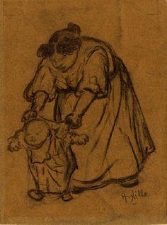 Heinrich Zille: Mutter mit Kind aus unserer Rubrik: Moderne Gemälde, Zeichnungen, Aquarelle