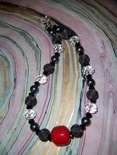 Woven metal beads, faceted quartz crystal, Swarovski pearls, custom polymer clay focal bead.