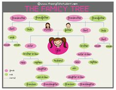 difference between niece and nephew,The English Student, www.theenglishstudent.com, the english students, family tree description, the family tree, names of family members, the english student family tree, ESL vocabulary, teaching about family names