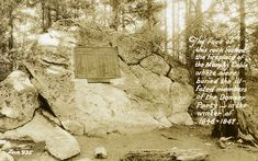 The Donner Party constructed a large cabin against this rock, using it as the western wall of the structure. A plaque mounted on the rock contains the names of the Donner Part. Postcard ca. 1950.This Day in History: Apr 25, 1847: The last survivors of the Donner Party are out of the wilderness.