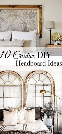 10 CREATIVE DIY HEADBOARD IDEAS - Tuft & Trim <br> A creative headboard can transform the look and feel of a room. Get inspired to make your own headboard with these tips and pictures of awesome DIY ideas. Diy Bed Headboard, Make Your Own Headboard, Headboard Designs, Headboard Ideas, Bohemian Headboard, Window Headboard, Vintage Diy, Vintage Market, Unique Headboards