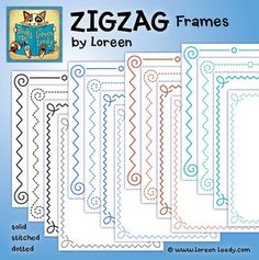 This set of ZIGZAG frames (borders) has 4 designs in 4 colors for 16 files total. They are PNG files with transparent backgrounds and may be are for personal or commercial classroom use. A FREE sample to try is included in the Preview. : )