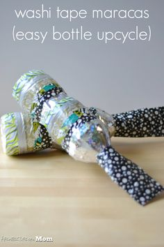 Architecture of a Mom: Washi Tape Water Bottle Maracas - An Earth Day Upcycle Project - craft idea
