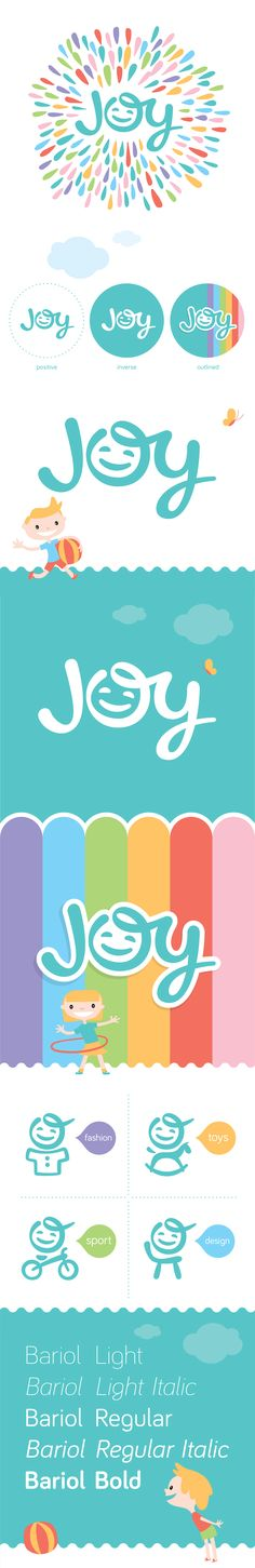 JOY logo represents brand directed at children aged 0 – 8 and their parents with product range – fashion, sport, toys and furniture. #FashionLogoDesign