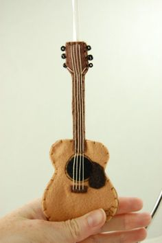 Personalized Acoustic Guitar Felt Ornament Made to Order by Tumus