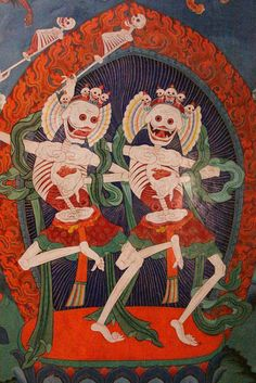 Indian Buddhist mural Cittipatti, lords of the charnel ground Tibetan Art, Tibetan Buddhism, Buddhist Art, Art And Illustration, Dance Of Death, Susanoo, Danse Macabre, Religious Art, Coups