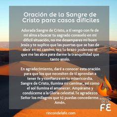 Oración la Sangre de Cristo para casos difíciles