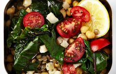 lentills and chickpeas with greens